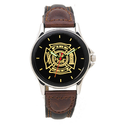 Fire Dept Medallion Leather Engravable Watch
