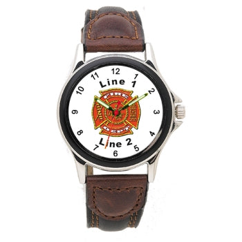 Custom Front 2-Tone Leather Band Watch