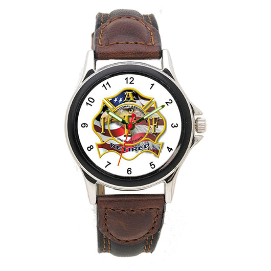 IAFF Retired Leather Band Engravable Watch
