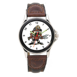 Fire Dept Tasmanian Devil Leather Band Engravable Watch