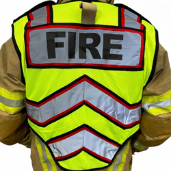Red Fire Ultrabright Public Safety Vest Back View