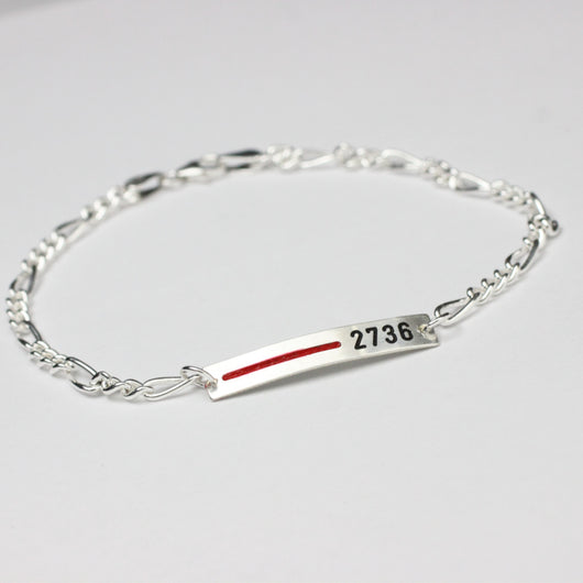 Thin Red Line Sterling Silver Personalized Bracelet