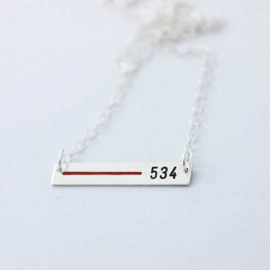 Sterling Silver Thin Red Line Custom Engraved Necklace for your Firefighter