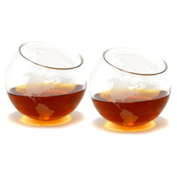 Etched Glass World Whiskey Glasses