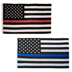 Thin Red & Thin Blue Line American Flags Combo Pack