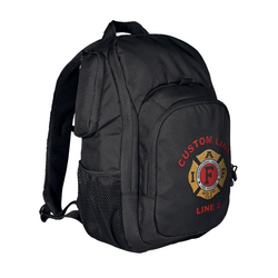 Customized TRU-SPEC Rambler Black Firefighter Backpack with IAFF Embroidery