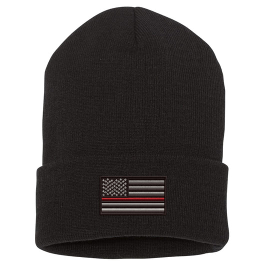 Thin Red Line Flag Black Cuffed Beanie