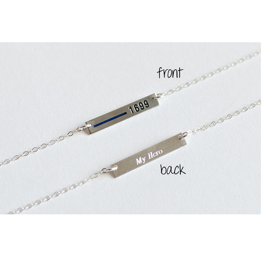Firefighter Thin Red Line Necklace engraved on front and back