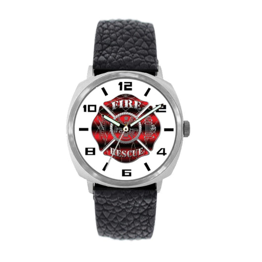 Fire Rescue Black and Red Leather Firefighter Watch
