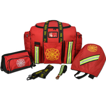 Firefighting Turnout Gear Bag Package with SCBA Mask Bag, Toiletry Bag, Shoulder and Glove Strap