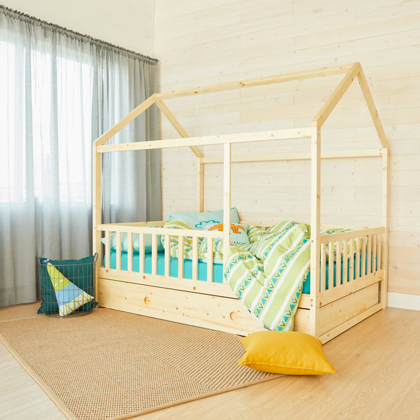 House Bed with rail - NATURAL WOOD - Double Size