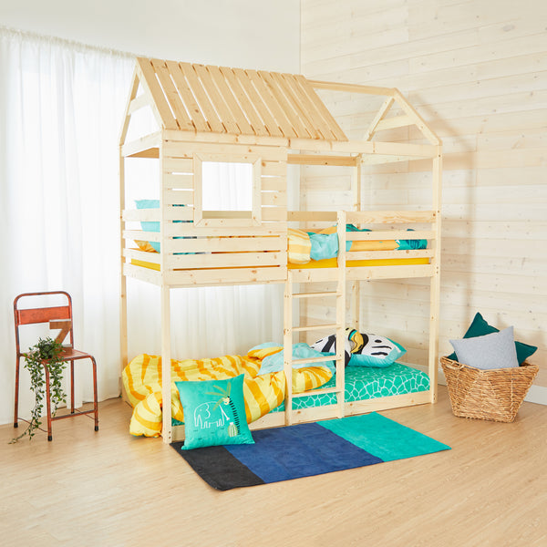 House Bunk Bed - NATURAL WOOD - Twin Size
