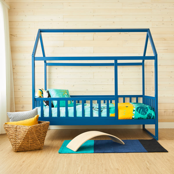 House Bed With Rails - DARK BLUE - Twin Size