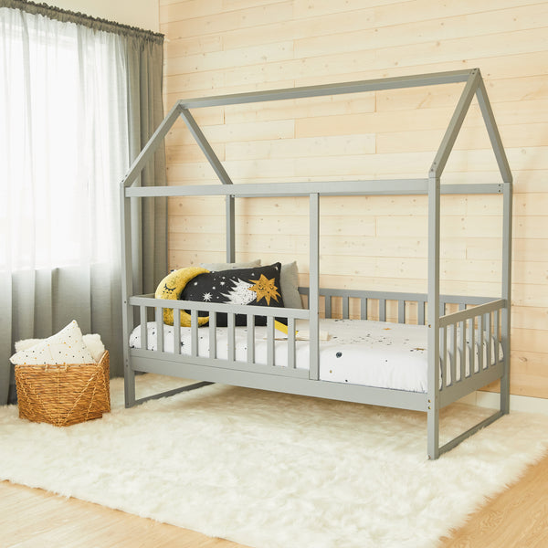 House Bed With Rails - GREY - Twin Size