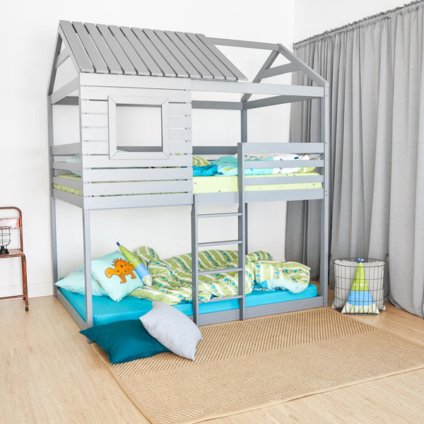 House Bunk Bed - GREY - Twin Size