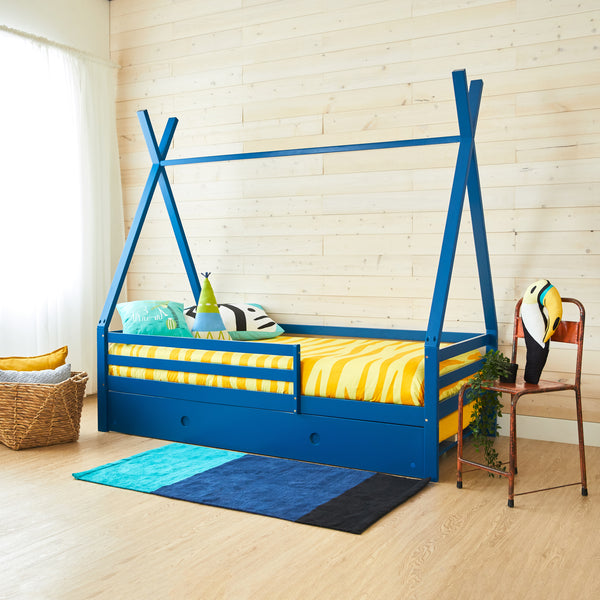 Teepee Bed With Rails - DARK BLUE - Full Size