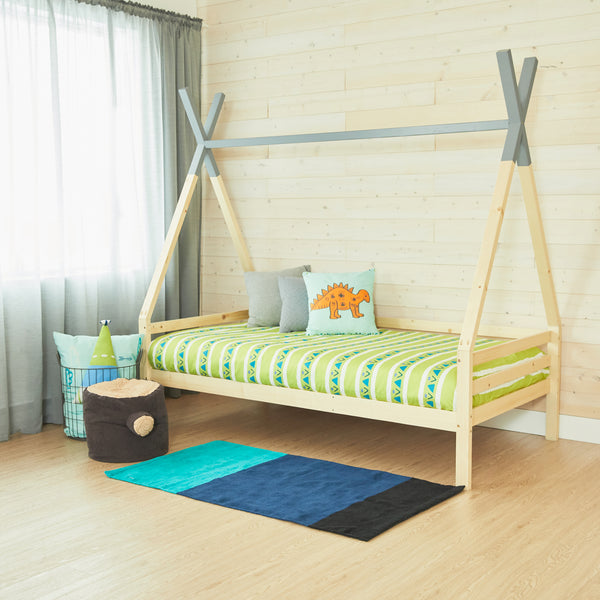Teepee Bed With Rails - GREY TOP - Full Size