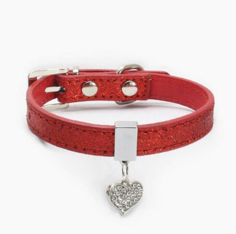 Peach heart pet collar