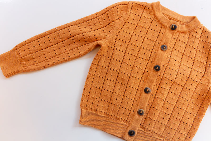 Windowpane Cardigan / Apricot
