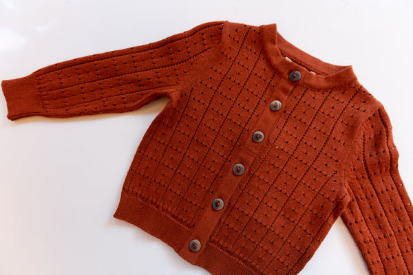 Windowpane Cardigan / Rust