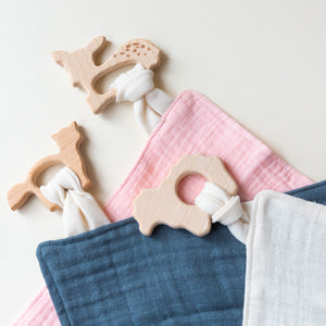 Muslin Lovey with Wooden Teether