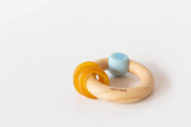 Rubberwood Natural Teether in Blue