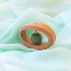 Grimm's Natural Wooden Teether with Green Serpentine Stone