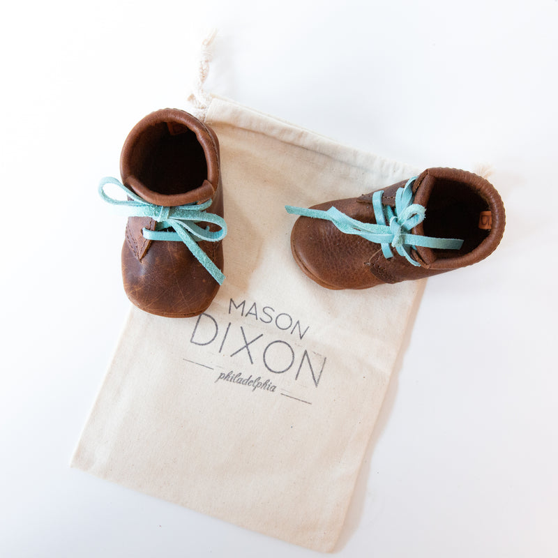 Leather Baby Booties with Blue Laces
