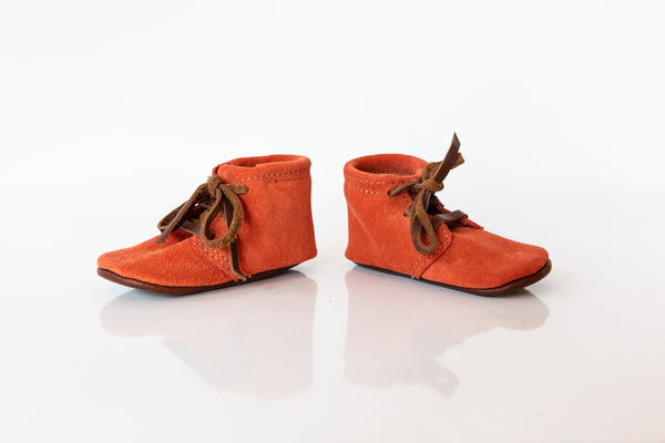 Orange Suede Baby Booties