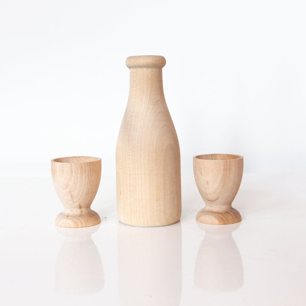 Wooden Milk and Cups