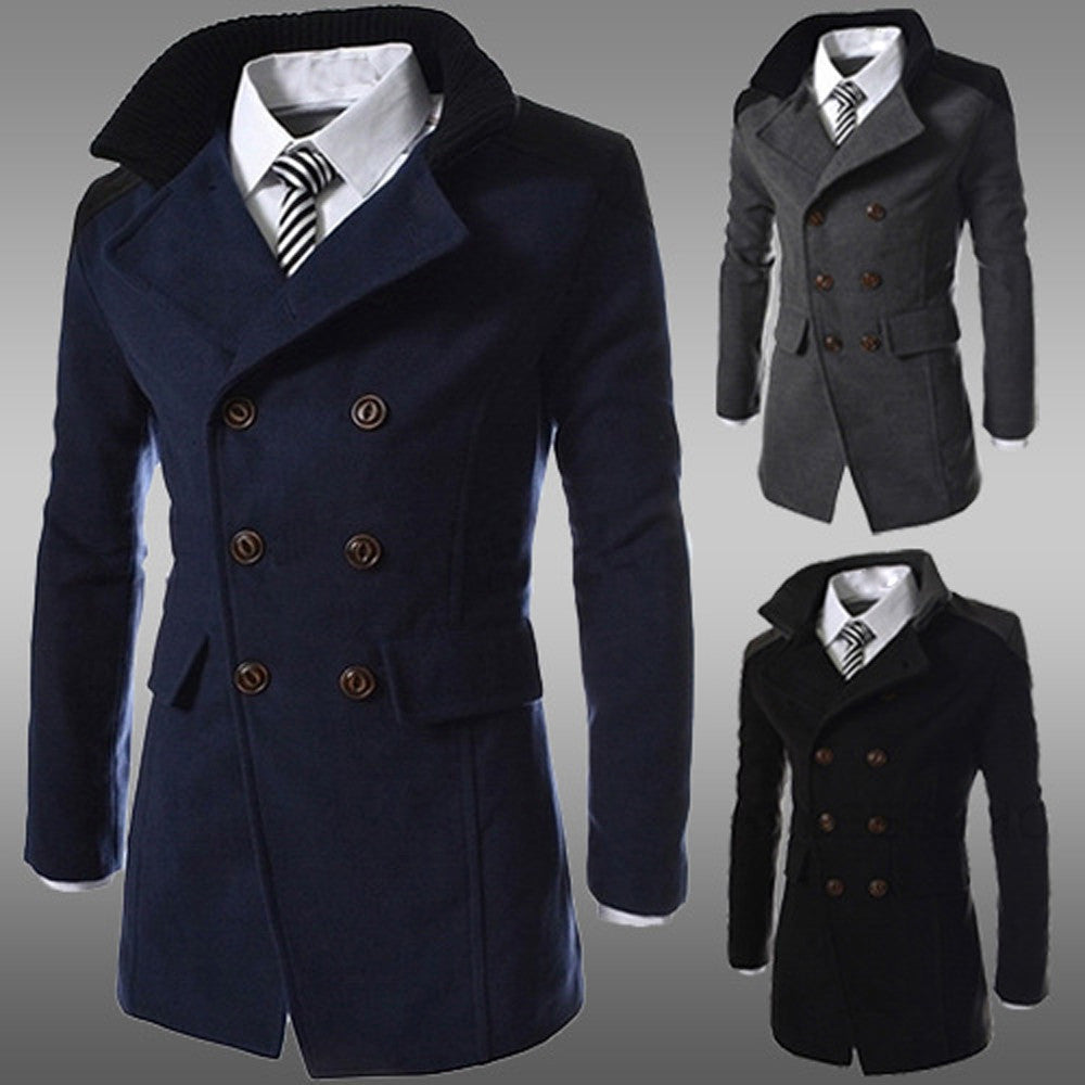 Men Warm Trench Long Overcoat