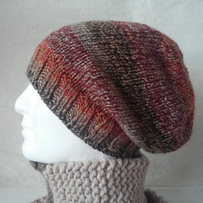 Knitting Pattern Slouchy Hat Mens Teens Easy Beanie Pattern Knit