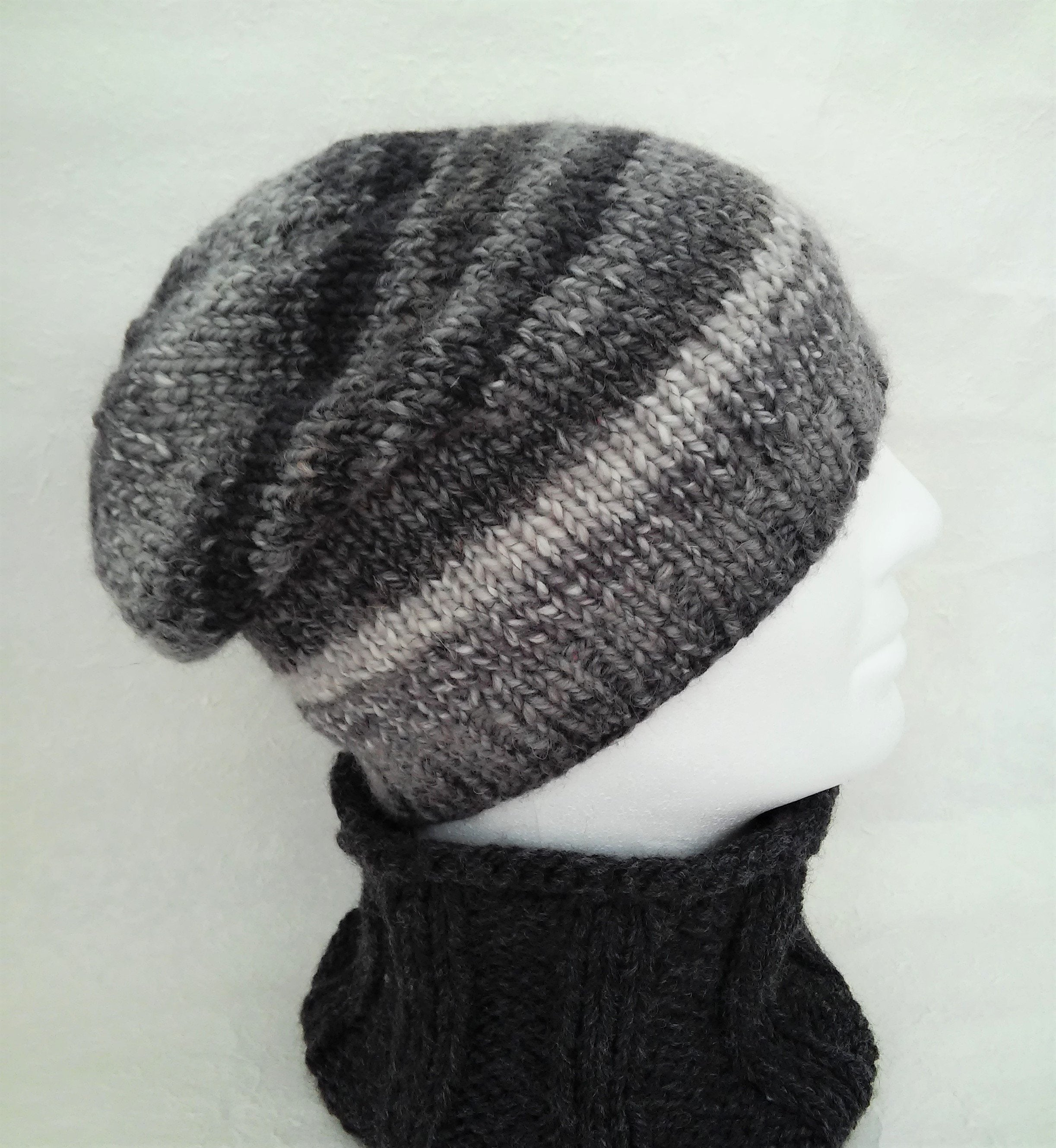 Knitting Pattern Mens Beanie Slouch Hateasy Beanie Patterncara Hat