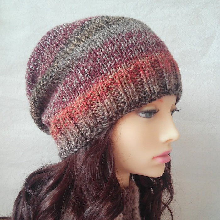 Easy Slouch Hat Knitting Pattern Knit Round Womens Slouchy Hat Gift