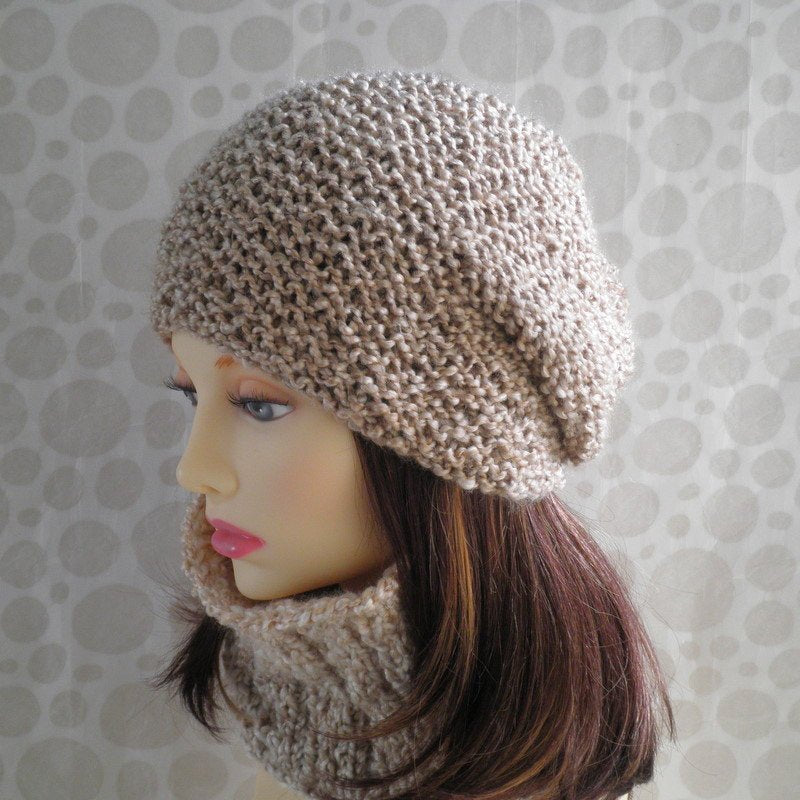 Knitting Patternocean Slouchy Beanie For Women And Men Knit Round