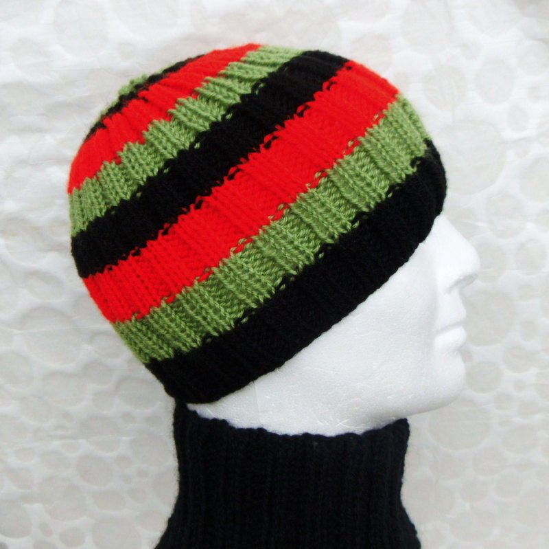 Teen Boys Striped Hat Easy Knitting Pattern Mens Beanie Knit In The