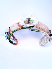 Innovated Visions Jewelry bracelet COPPER EVIL EYE FLOWER ROSE QUARTZ ADJUSTABLE WIRE WRAPPED CUFF BRACELET