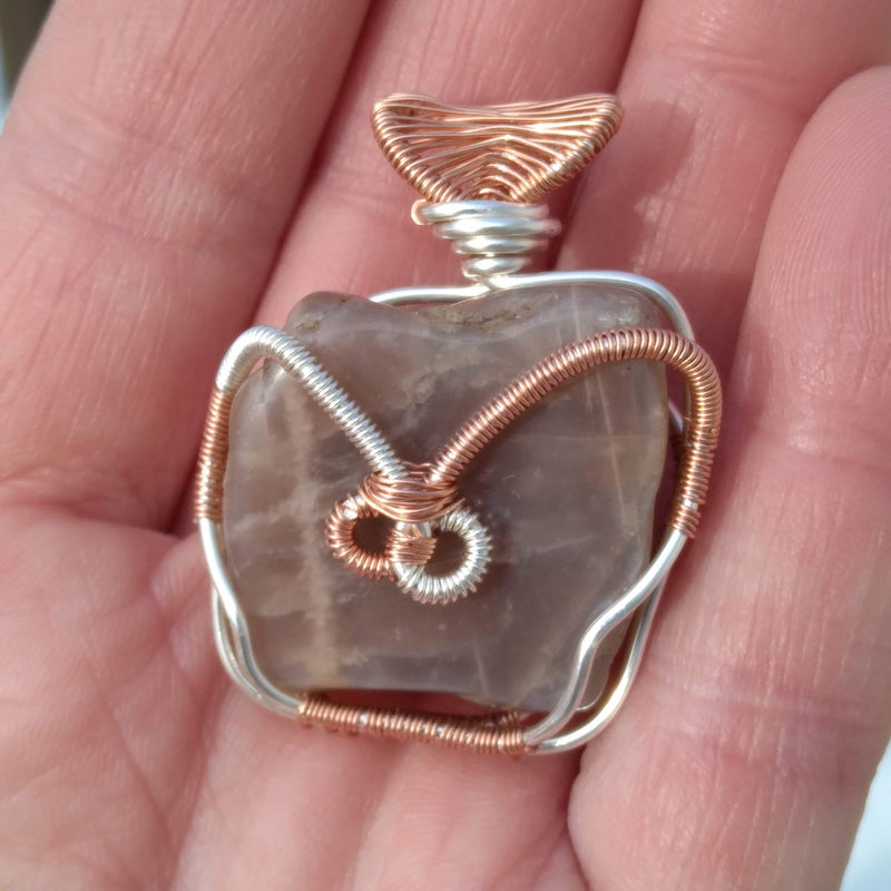 Innovated Visions Jewelry Pendant BROWN MOONSTONE WIRE WRAPPED PENDANT