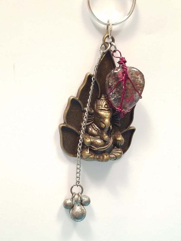 Innovated Visions Jewelry Pendant Ganesh bronze charm wire wrapped pendant with a fire red quartz crystal