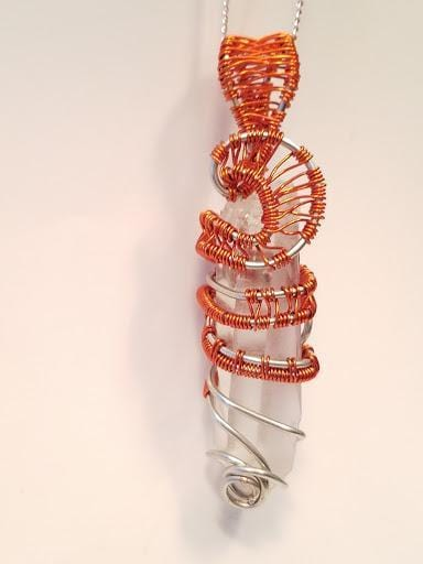 Innovated Visions Jewelry Pendant LEMURIAN QUARTZ CRYSTAL WIRE WRAPPED PENDANT WITH RED AND SILVER WIRE