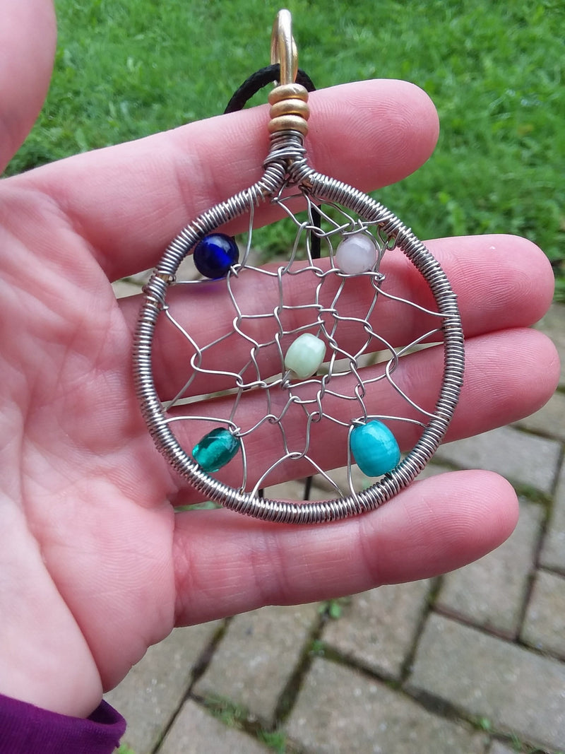 Innovated Visions Jewelry Pendant SILVER BEADED DREAM CATCHER WIRE WRAPPED PENDANT