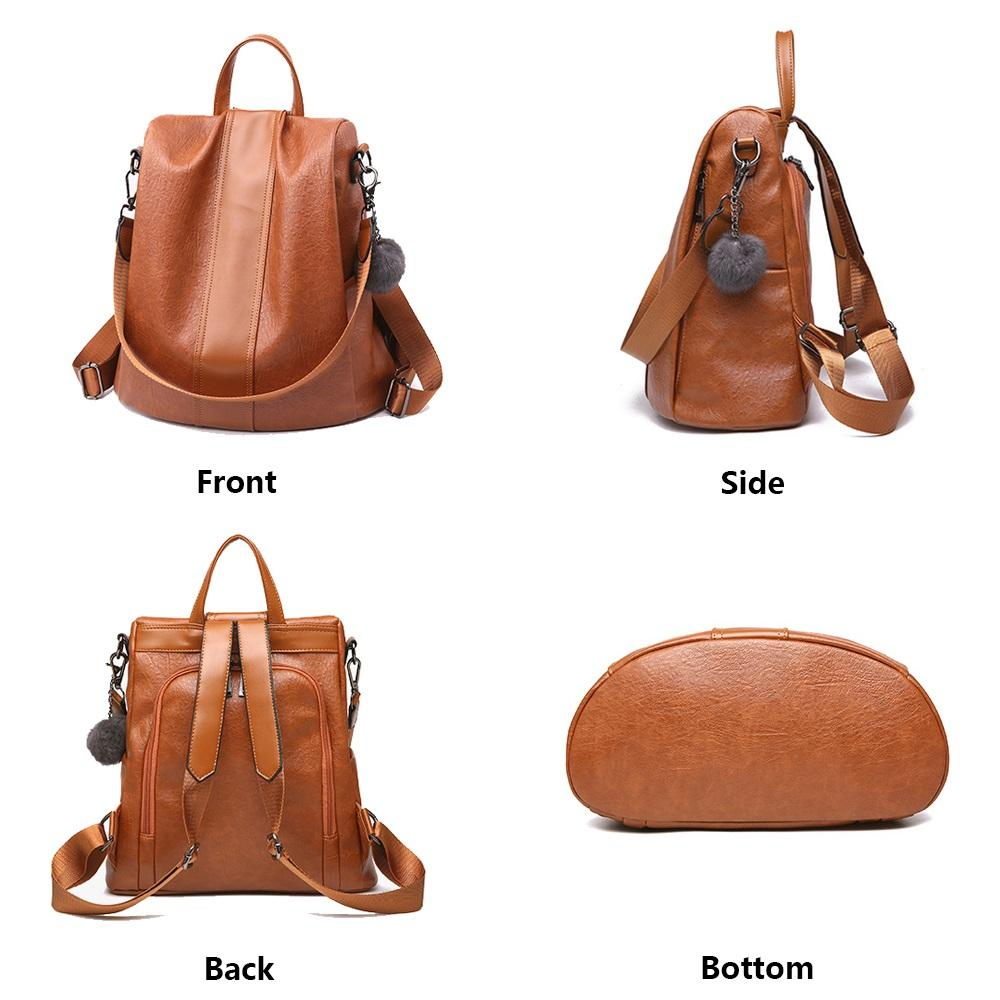 ANTI-THEFT WATERPROOF SOFT LEATHER CASUAL BACKPACK & SHOULDER BAG WITH LARGE CAPACITY