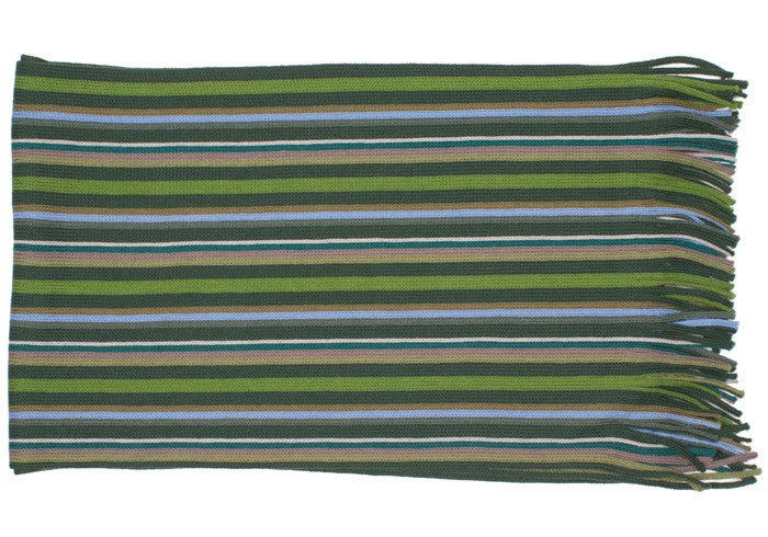 Wool Knit Stripe Scarf - Green
