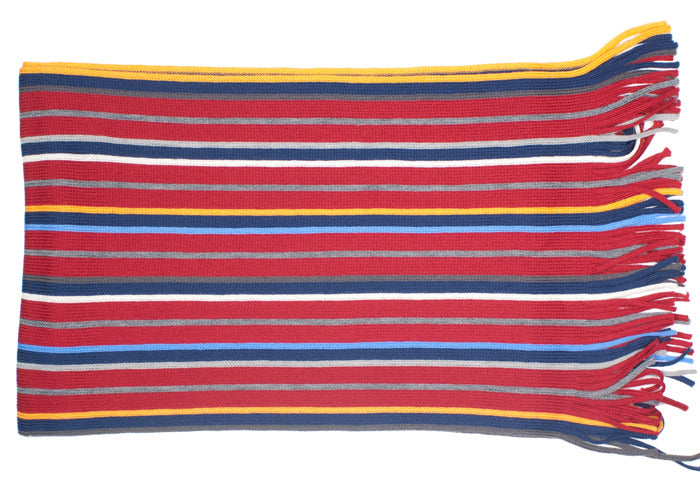 Wool Knit Scarf - Red Stripe