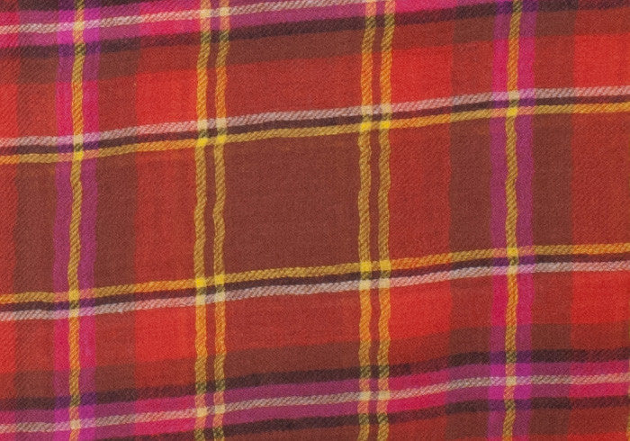 Alan Plaid Wool Scarf - Red