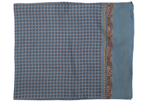 Silk Medallion Scarf - Gray