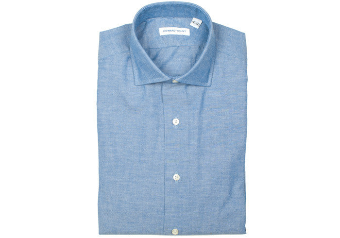 Chambray Spread Collar Shirt - Blue