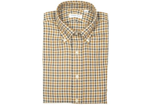 Flannel Plaid Shirt - Brown, Blue, Cream - Large