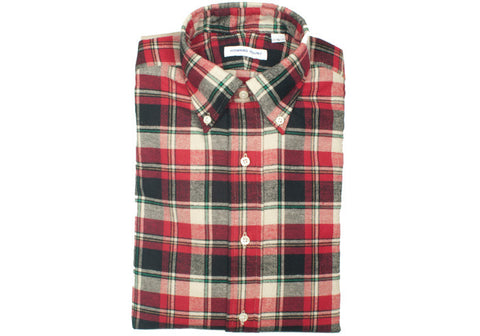 Flannel Plaid Shirt - Red, Cream, Navy