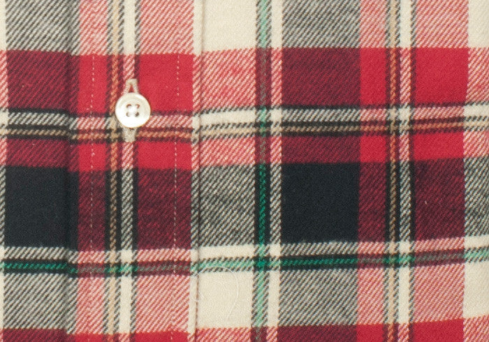 Flannel Plaid Shirt - Red, Cream, Navy - L